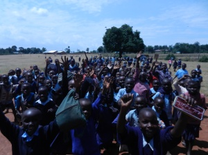 Many new friends I met at Misanga Primary School.  They now know how to high five and play Simon Says.
