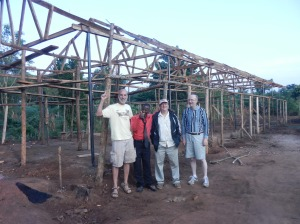 Church structure with trusses installed