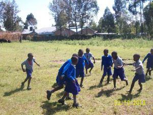 ...playing soccer at recess.
