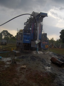 Drill rig on site in early July