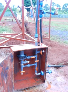 Chlorinator system.  Tank drain valve in upper right, provided the 1st shower after 2 weeks in Uganda.