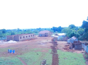 View from the tank toward the home.  Boys dorm under construction on the left.