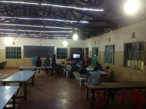 Installed additional lights in the dining hall so the kids can study better...watching a DVD at the moment...school break