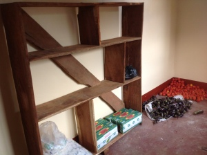 Shelves are the start of the storeroom.