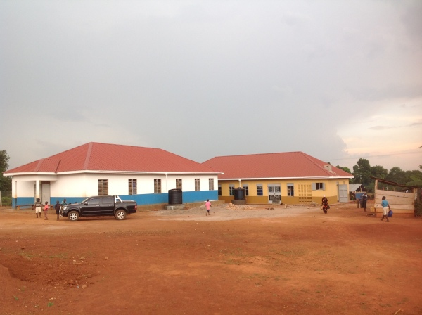 The Dining Hall is in the background. The boys dorm to the left. The open space to the right is for the future girls dorm.